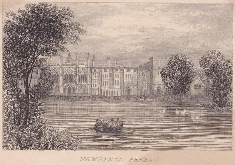 Engraving of Newstead Abbey, Nottinghamshire 1800s. A 1800s engraving of Newstead Abbey, Nottinghamshire. Formerly an Augustinian priory. Converted to a domestic stock photo