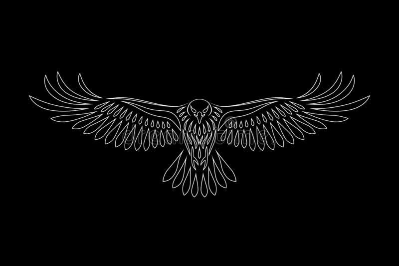 Engraving of stylized hawk on black background. Linear drawing. Decorative bird royalty free illustration