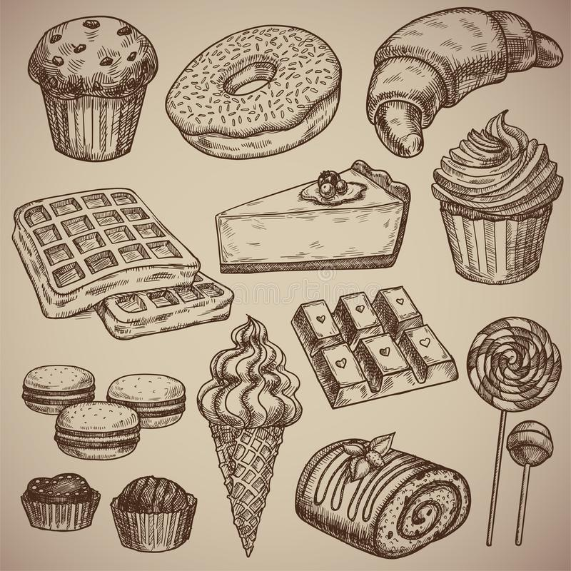 Engraving a sweet set: muffin, donut, croissant, waffles, cheesecake, capcake, macaroons, chocolate bar, two chocolate. Sweets, ice cream in a waffle cup, a vector illustration