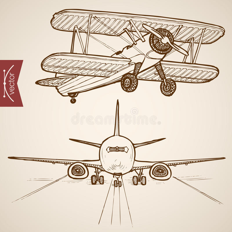 Engraving vintage hand drawn vector Air transport royalty free illustration