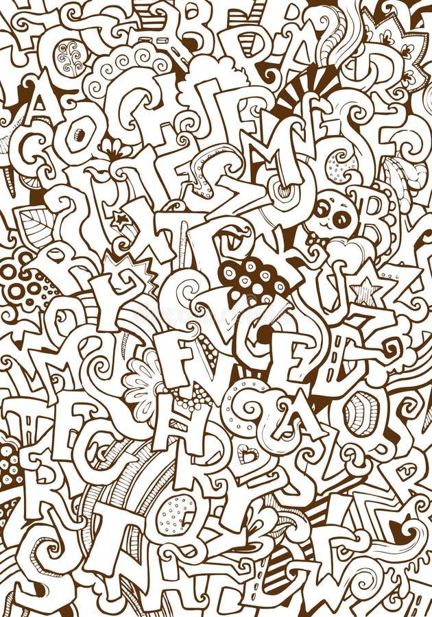Engraving vintage hand drawn vector Alphabet. Doodle collage. Pencil Sketch ABC letters illustration vector illustration