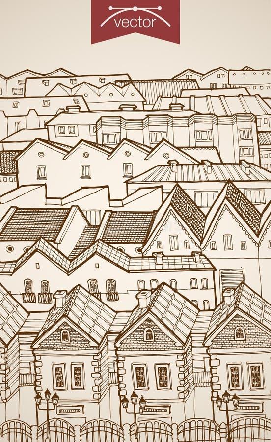 Engraving vintage hand drawn vector architecture b. Engraving vintage hand drawn vector city roofs skyline horizon. Pencil Sketch architecture illustration royalty free illustration