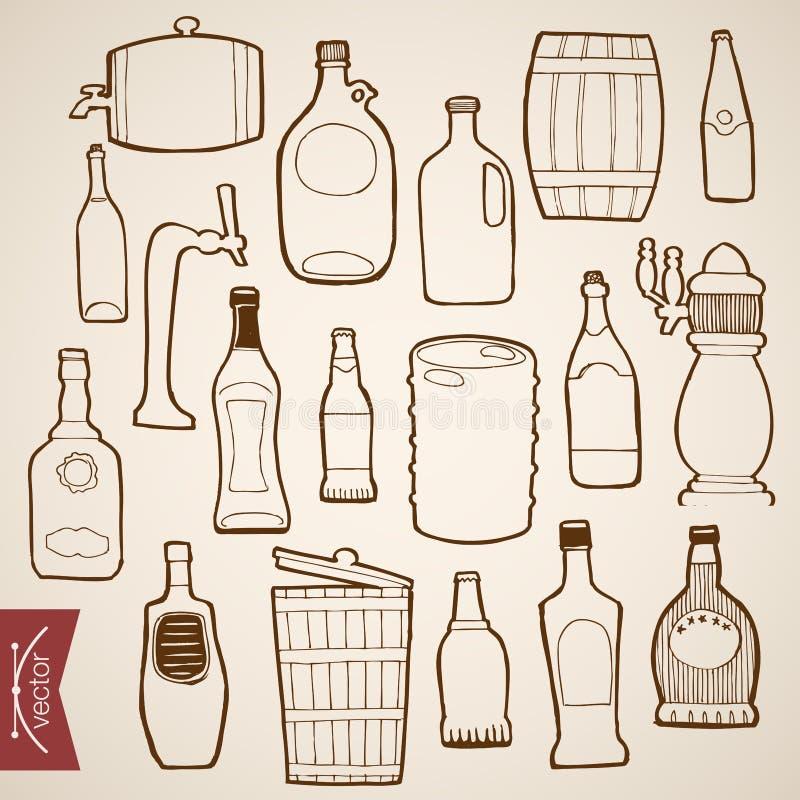 Engraving vintage hand drawn vector bottle wood ca. Engraving vintage hand drawn vector restaurants drinks bottle collection. Pencil Sketch barrel, keg, wood stock illustration