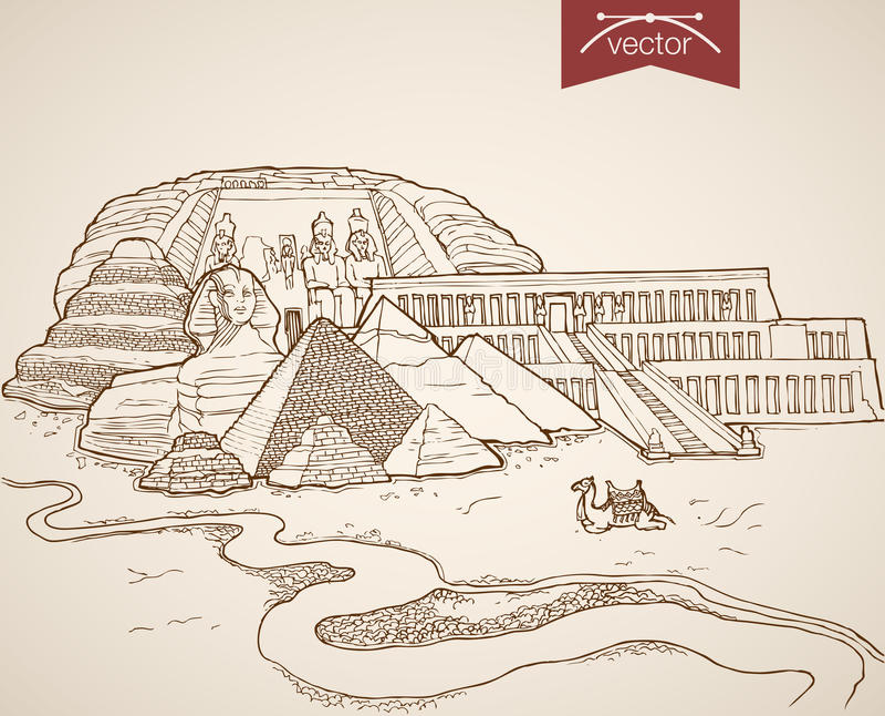 Engraving vintage hand drawn vector Egypt Africa S. Engraving vintage hand drawn vector Cairo, Egypt travel. Pencil Sketch Sphinx, Pyramids, Citadel sightseeing vector illustration