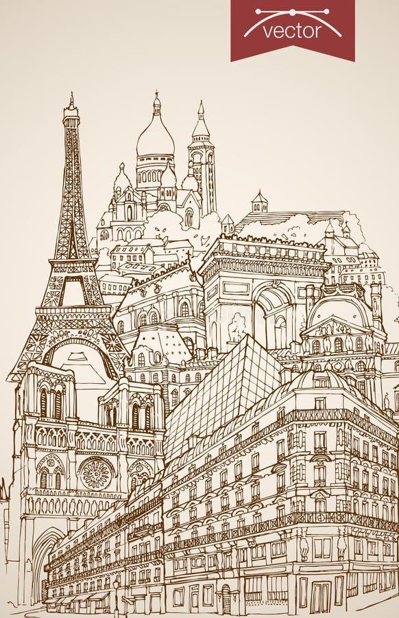 Engraving vintage hand drawn vector France Paris t vector illustration