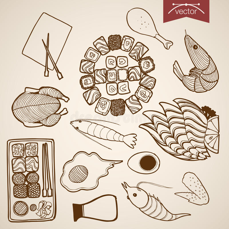 Engraving vintage hand drawn vector sushi meat egg. Engraving vintage hand drawn vector restaurant menu food collection. Pencil Sketch chicken, egg, meat, sushi royalty free illustration