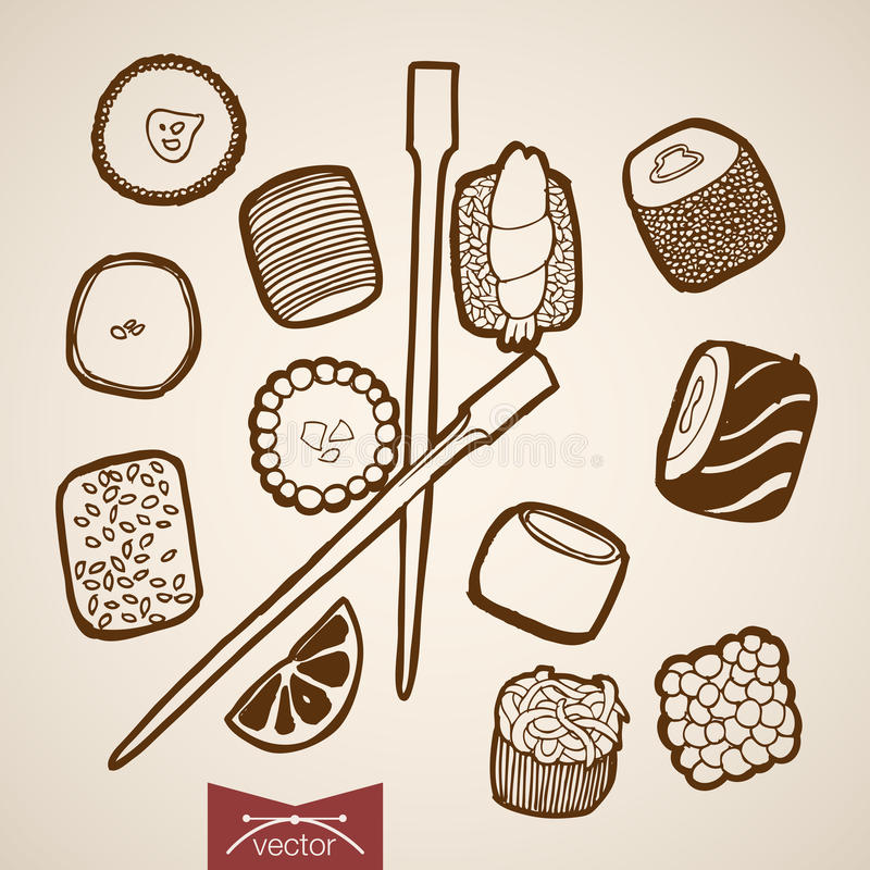 Engraving vintage hand drawn vector Sushi roll bar. Engraving vintage hand drawn vector Japanese restaurant food collection. Pencil Sketch Sushi roll, wood vector illustration