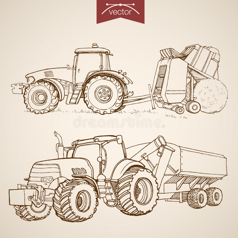 Engraving vintage hand drawn vector tractor Farm S. Engraving vintage hand drawn vector tractor and combine collection. Pencil Sketch Farm Machinery illustration vector illustration