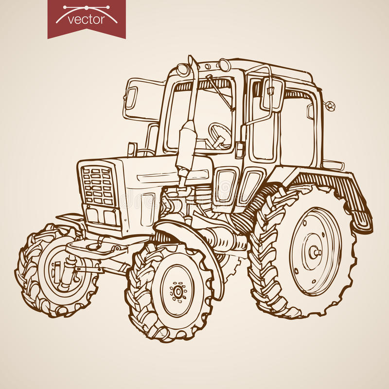 Engraving vintage hand drawn vector tractor Farm S. Engraving vintage hand drawn vector tractor image. Pencil Sketch Farm Machinery illustration stock illustration