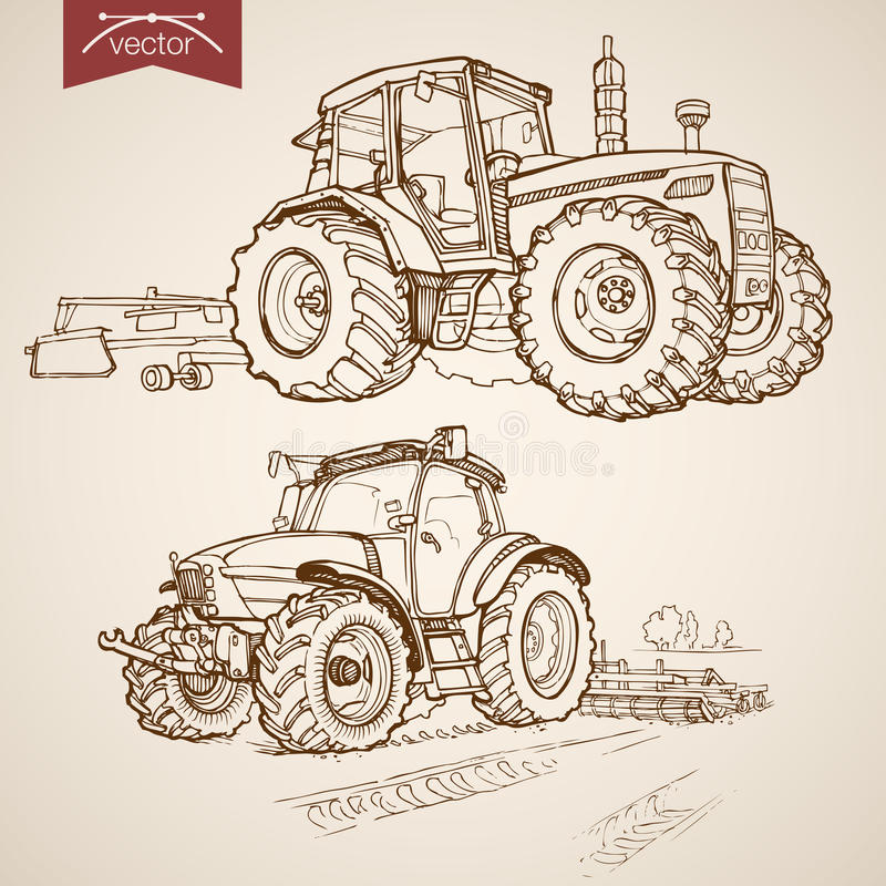 Engraving vintage hand drawn vector tractor Farm S. Engraving vintage hand drawn vector tractor plough collection. Pencil Sketch Farm Machinery illustration vector illustration