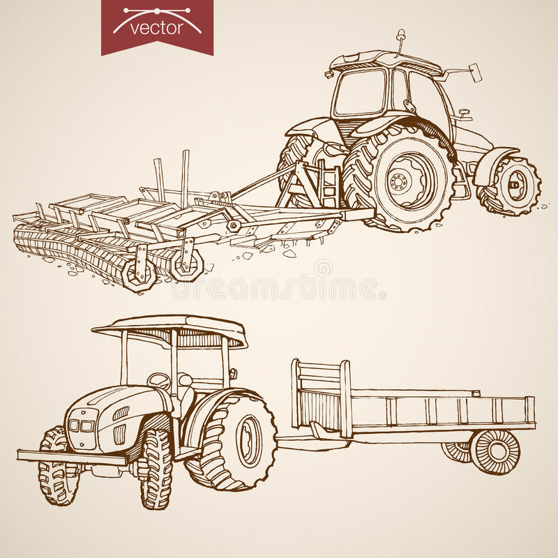 Engraving vintage hand drawn vector tractor Farm S. Engraving vintage hand drawn vector tractor plowing ground collection. Pencil Sketch Farm Machinery vector illustration