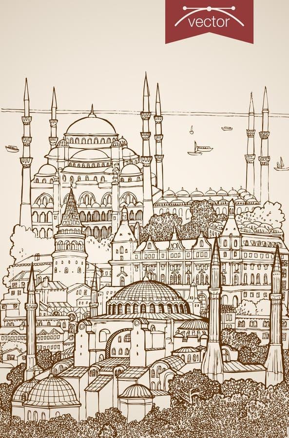 Engraving vintage hand drawn vector Turkey Istanbu. Engraving vintage hand drawn vector Istanbul, Turkey travel. Pencil Sketch Blue Mosque, Hagia Sophia vector illustration