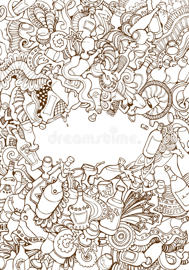 Engraving vintage hand vector wine glass bottle. Engraving vintage hand drawn vector Party alcohol drinks doodle collage with copyspace. Pencil Sketch wine stock illustration