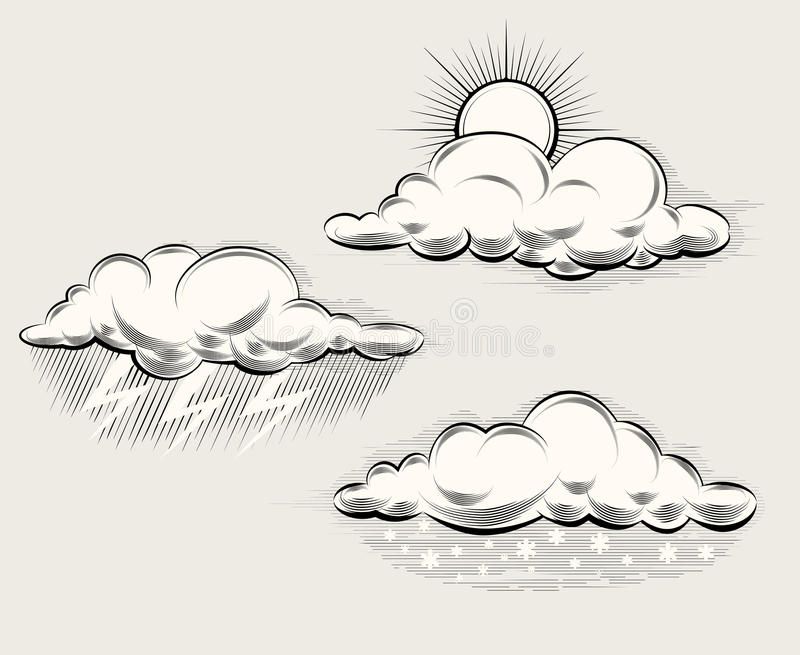 Engraving weather. Sun behind cloud, rain and. Engraving weather. Sun behind a cloud, rain, snow and lightning and storm. Vector illustration royalty free illustration