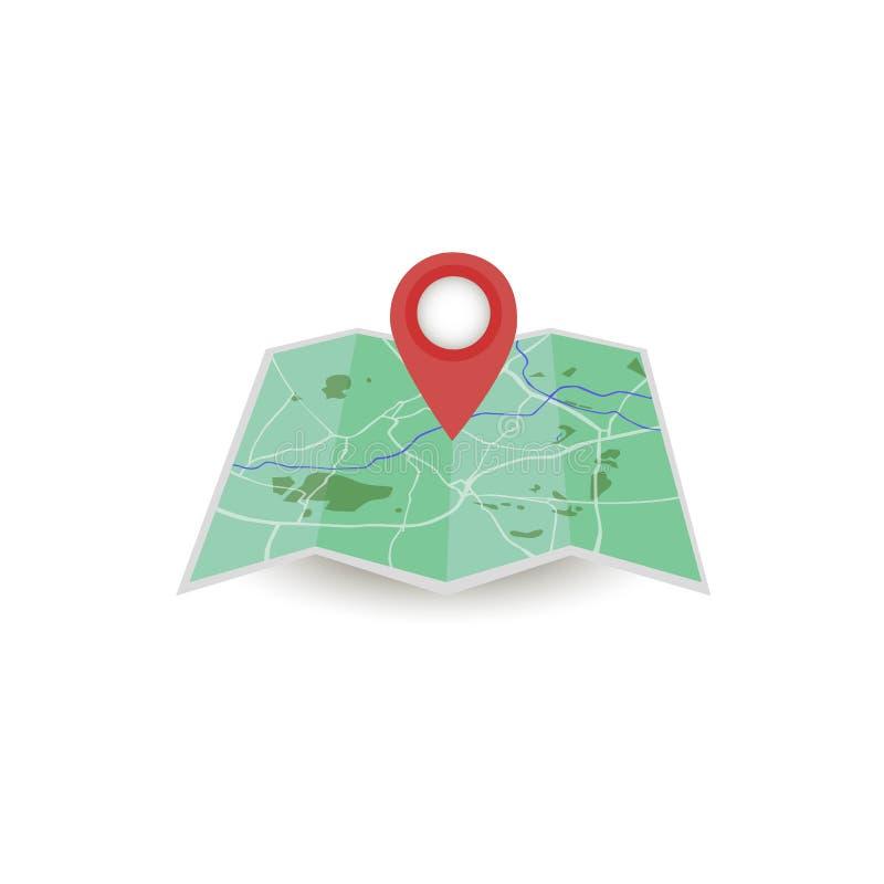 Engrena o ícone Mapa da cidade Ponto no mapa Pin e navegador de GPS Estilo liso ilustração stock
