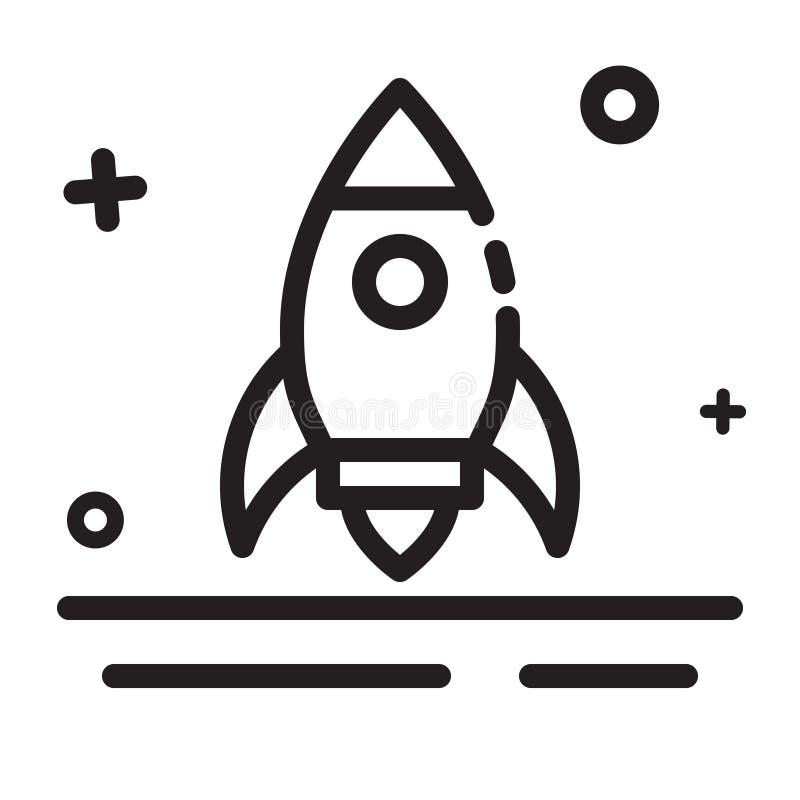 Engrena o ícone Rocket, começa acima, ícone do lançador Ícone moderno do esboço para algumas finalidades ilustração stock