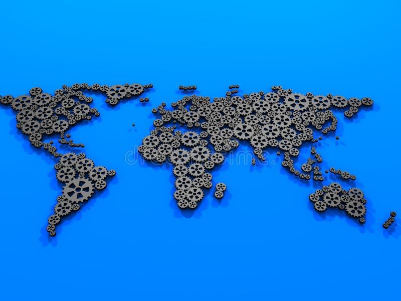 Engrena o mapa de mundo. ilustração do vetor