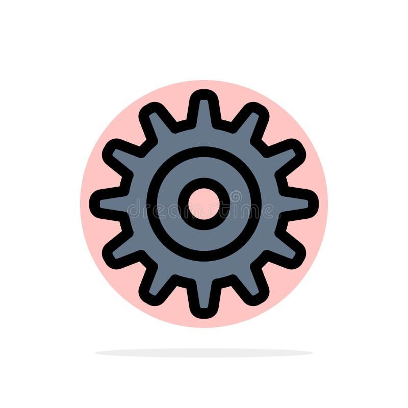 Engrenagem, ajuste, ícone liso da cor do fundo do círculo do sumário da roda ilustração royalty free