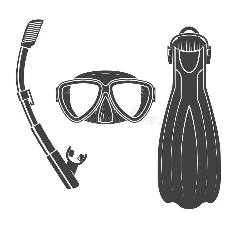 Engrenagem do mergulho autônomo ilustração royalty free