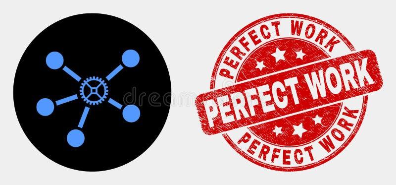 A engrenagem do vetor liga o selo perfeito do ícone e do trabalho do Grunge ilustração do vetor