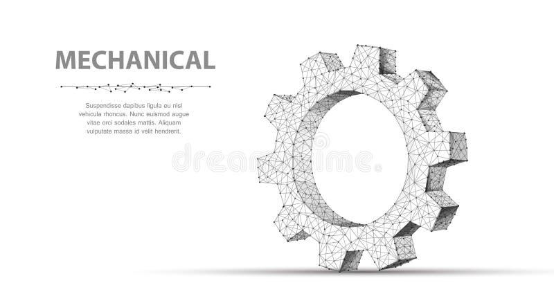 Engrenagem Engrenagem do wireframe um do vetor do sumário do close up ilustra??o 3d isolada no fundo branco ilustração stock