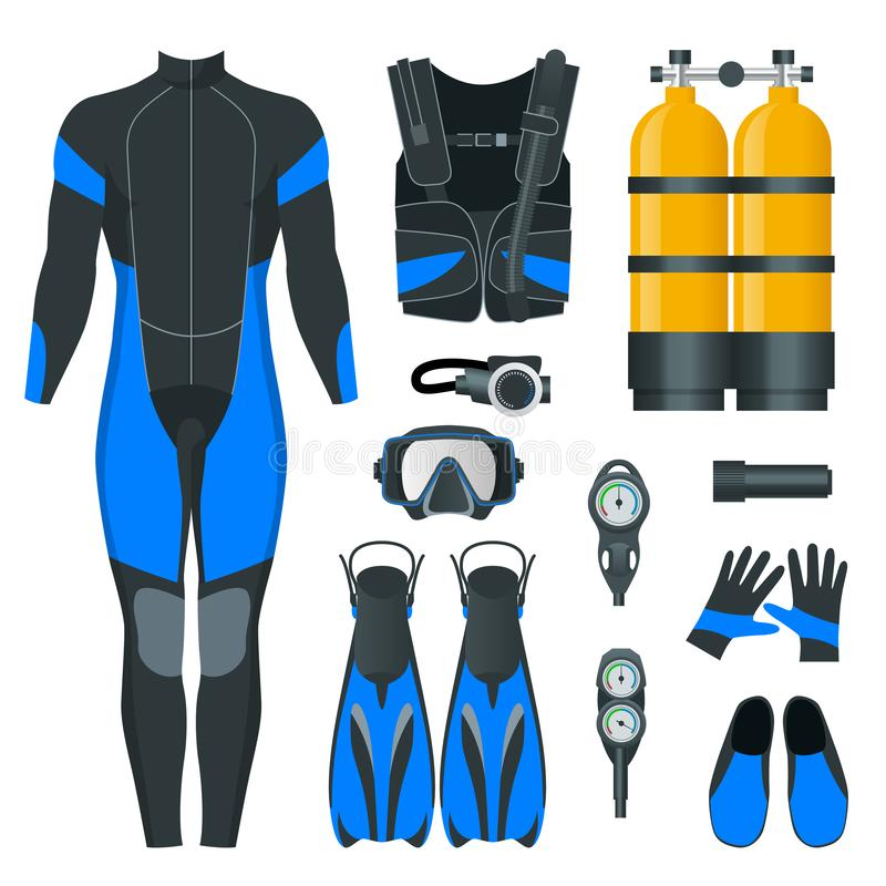 Engrenagem e acess?rios de mergulhador do homem Equipamento para o mergulho Roupa de mergulho de IDiver, m?scara do mergulhador,  ilustração royalty free