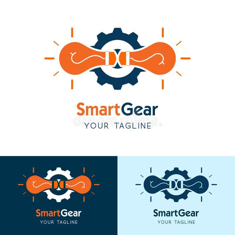 Engrenagem esperta do ícone do logotipo do vetor, conceito de projeto para soluções do negócio, logotipo esperto da luz da engren ilustração stock