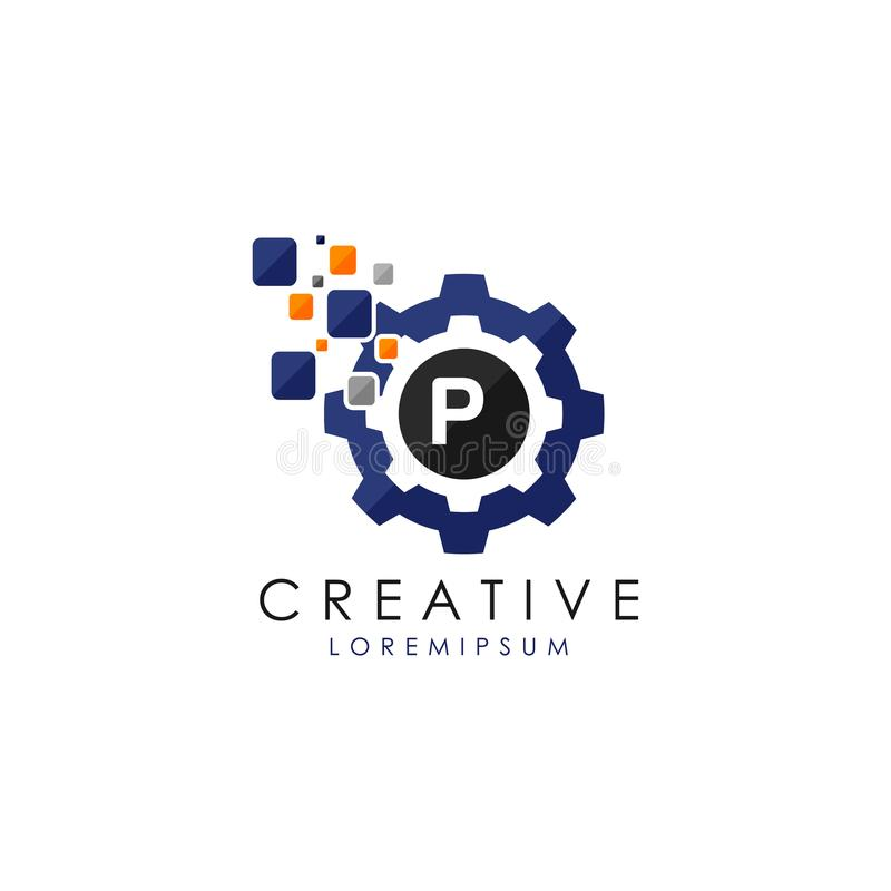 Engrenagem Logo Vetora de Digitas dos dados da letra P ilustração do vetor