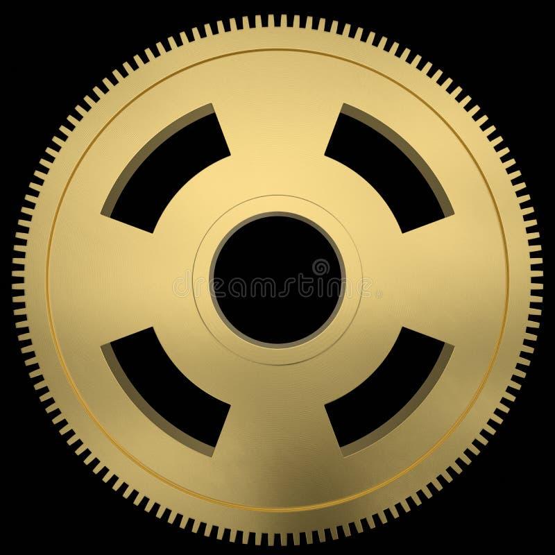 Engrenagem mecânica dourada de flutuação isolada em um fundo preto ilustração royalty free
