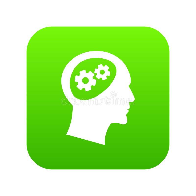 Engrenagem no verde digital do ícone principal ilustração royalty free