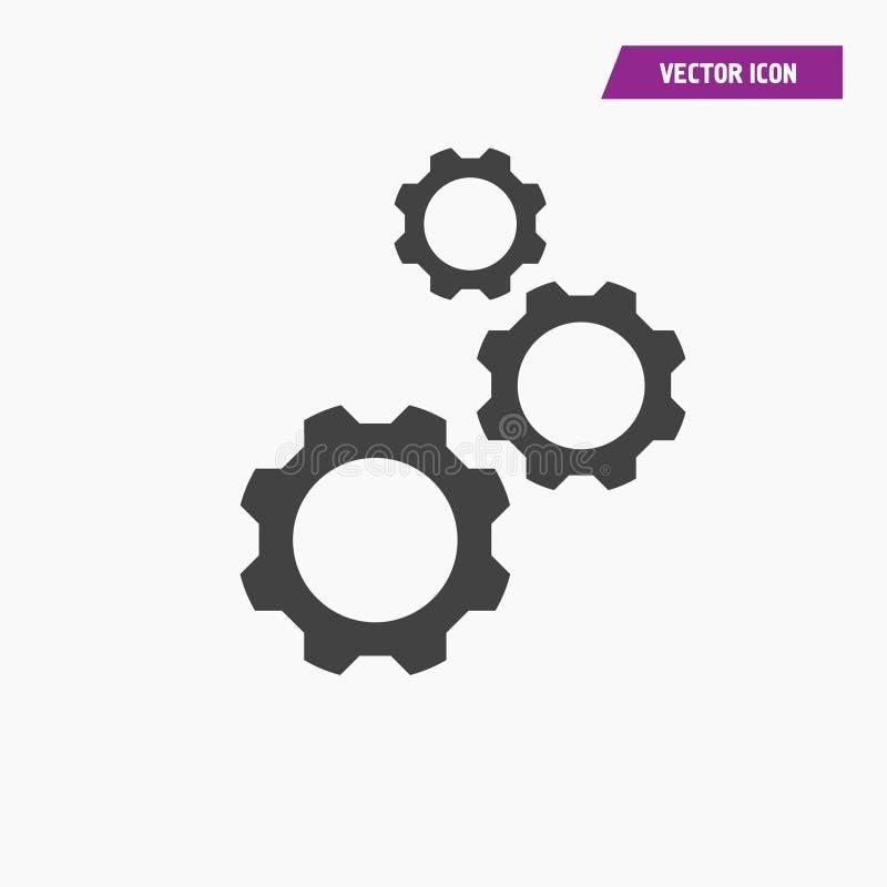 Engrenagem preta da roda denteada três, ícone dos ajustes ilustração do vetor