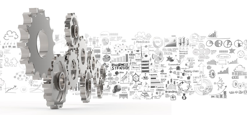 Engrenagem tirada mão da estratégia empresarial 3d ao sucesso ilustração do vetor
