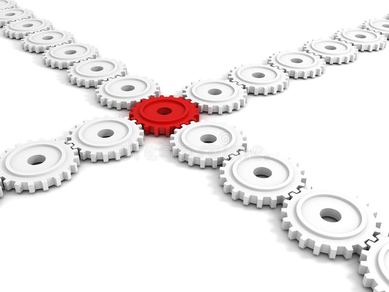 Engrenagem vermelha da conexão como o conceito dos trabalhos de equipa do negócio ilustração royalty free
