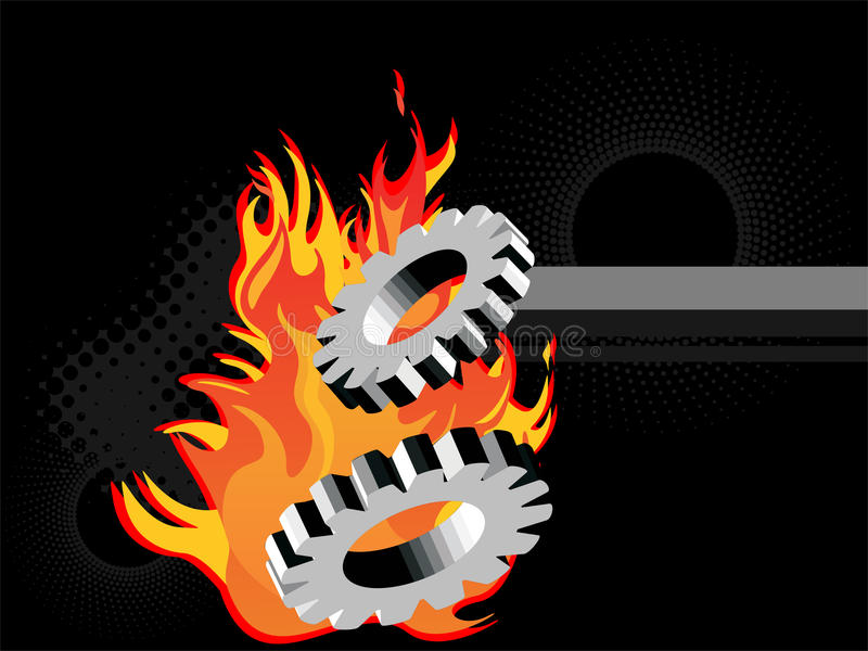 Engrenagens ardentes do metal ilustração stock