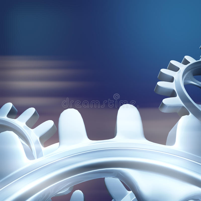 Engrenagens brancas e rodas denteadas macro ilustração do vetor