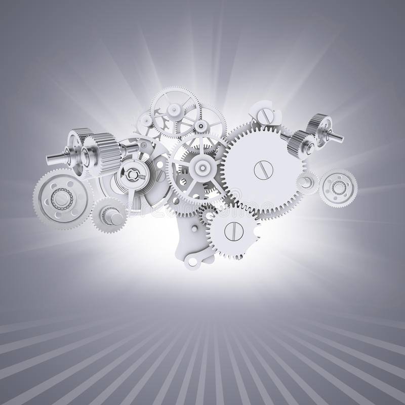 Engrenagens brancas no fundo cinzento com as listras em ilustração do vetor
