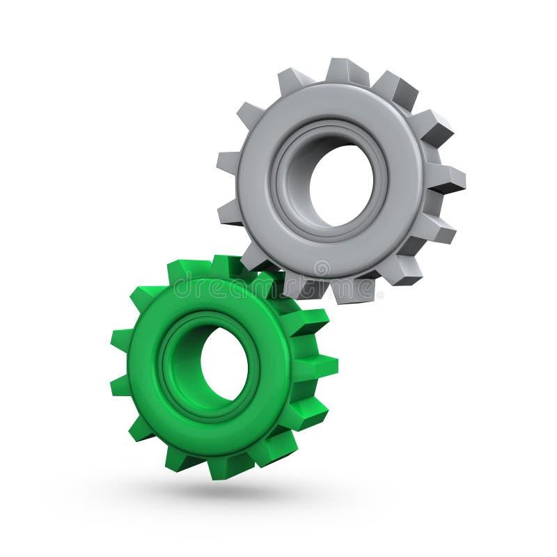 Engrenagens Cinzentas Verdes Imagem de Stock