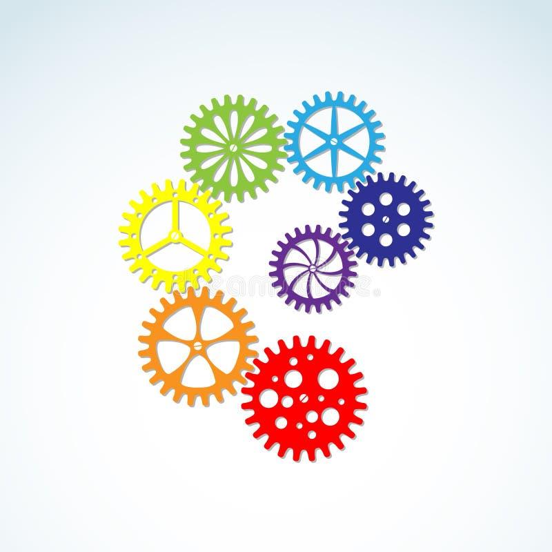 Engrenagens coloridas ilustração do vetor