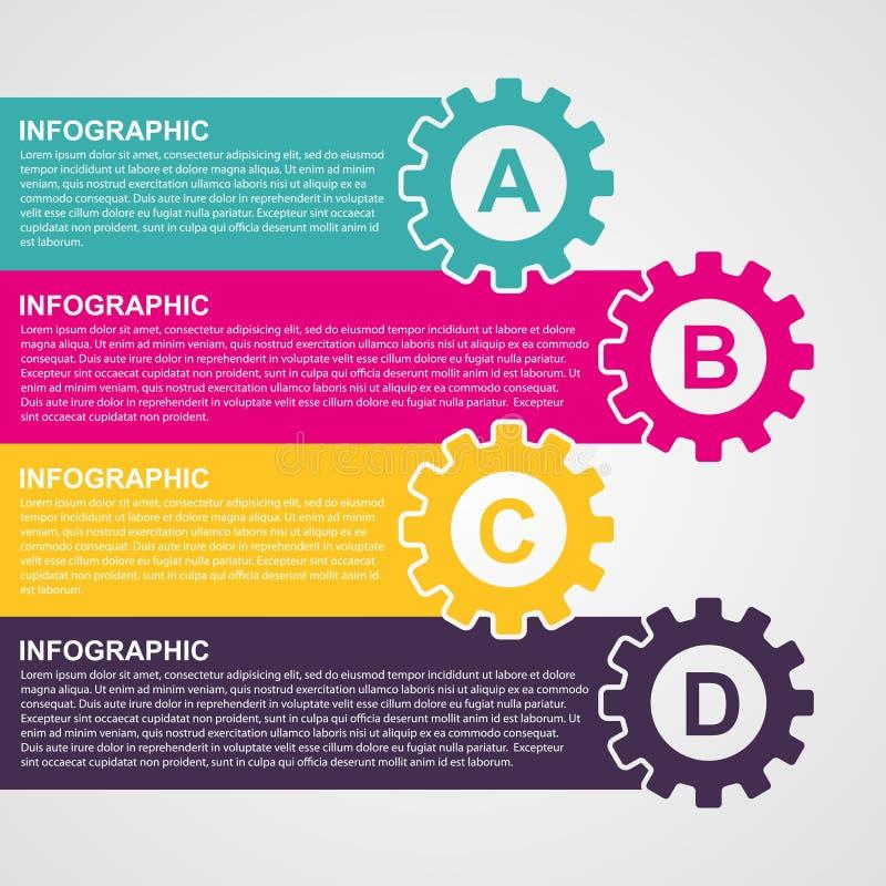 Engrenagens coloridas do estilo do projeto de Infographic ilustração do vetor