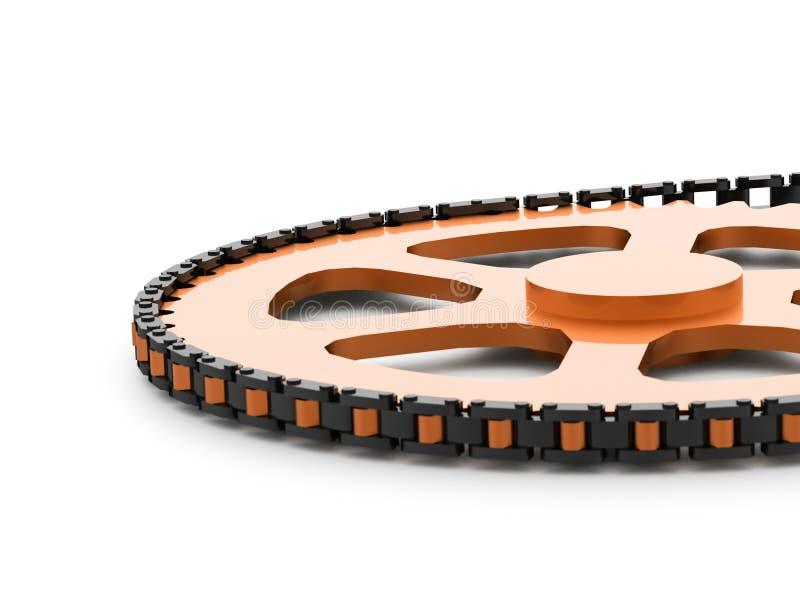 Engrenagens com o conceito chain rendido ilustração do vetor