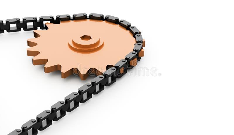Engrenagens com o conceito chain rendido ilustração stock