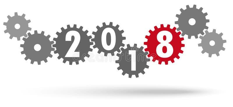 engrenagens da cooperação pelo ano novo 2018 ilustração do vetor