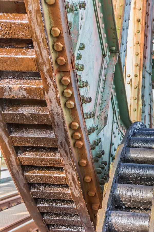 Engrenagens da ponte Friesenbrucke da estrada de ferro perto de Weener no Ge imagem de stock