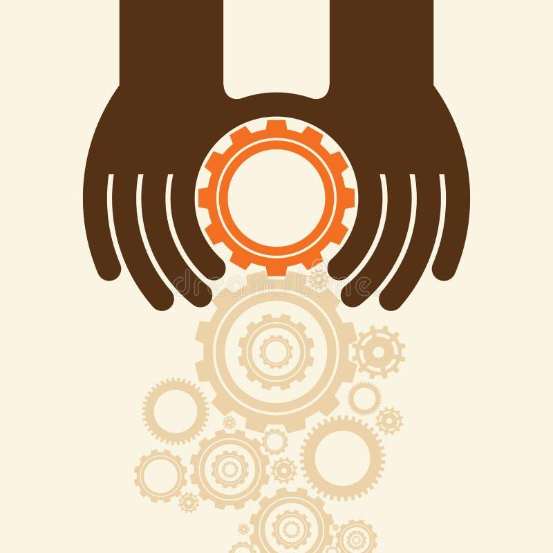 Engrenagens da posse das mãos dos povos O negócio começa acima o conceito ilustração do vetor