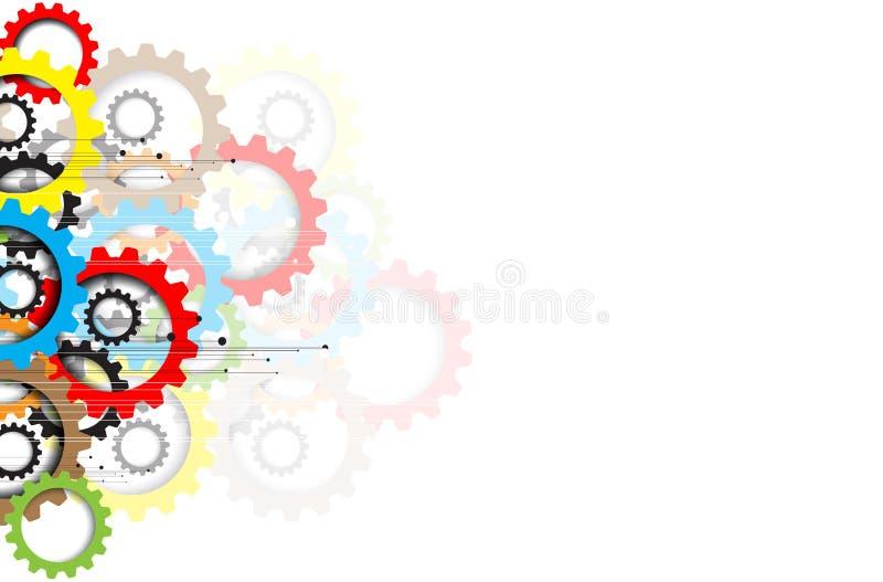 Engrenagens da tecnologia da máquina bacground retro do mecanismo da cremalheira ilustração stock