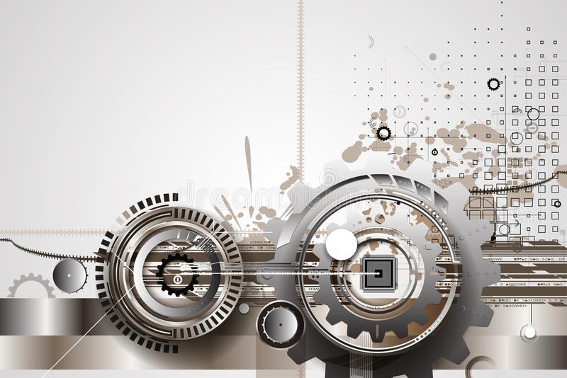 Engrenagens da tecnologia da máquina bacground retro do mecanismo da cremalheira ilustração royalty free