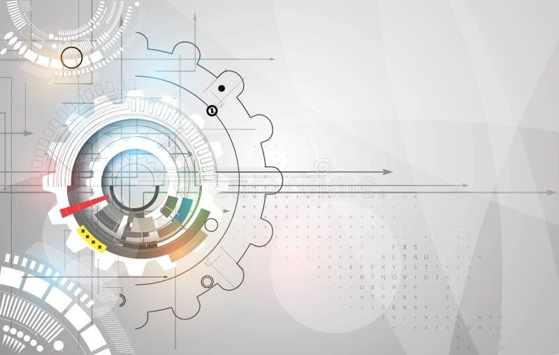Engrenagens da tecnologia da máquina bacground retro do mecanismo da cremalheira ilustração do vetor