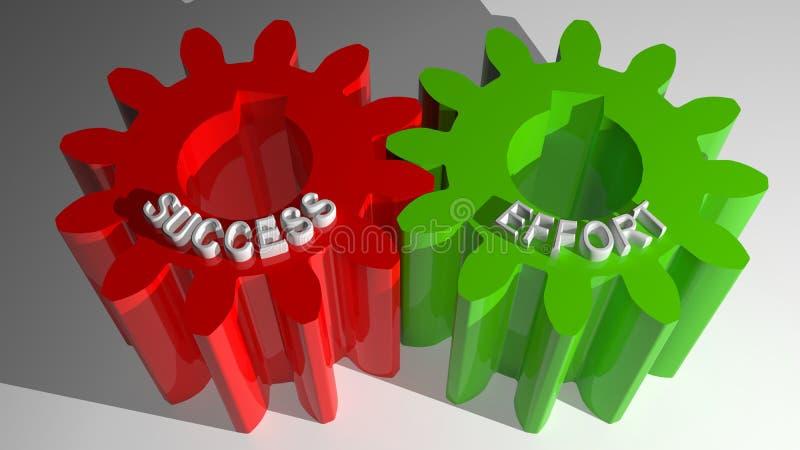 Engrenagens de acoplamento do sucesso e do esforço ilustração royalty free