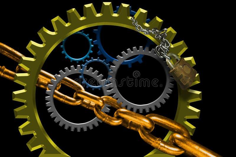 Engrenagens de giro e ligações chain ilustração do vetor
