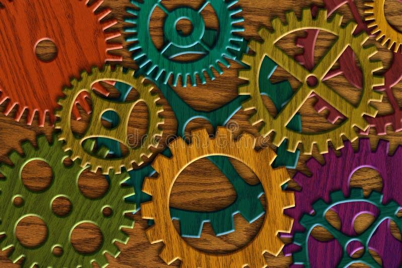 Engrenagens de madeira no fundo de madeira da textura da grão ilustração stock